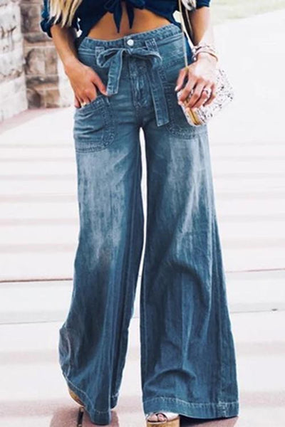 Allovely Lace-Up Washed Denim Wide-Leg Pants