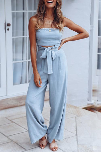 Allovely Solid Color Strapless Jumpsuit