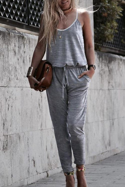 Allovely Solid Color Suspenders Casual Jumpsuit