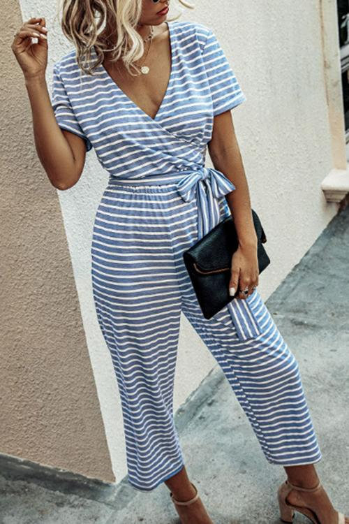 Allovely Striped V-Neck Short Sleeve Lace-Up Jumpsuit