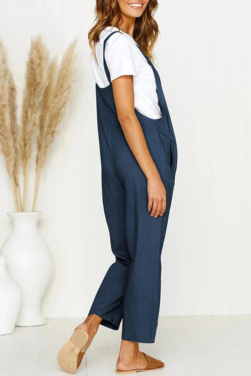 Allovely Solid Wide Leg Strappy Jumpsuit Overalls