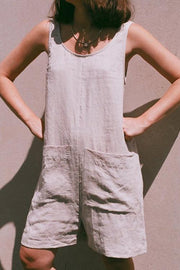 Allovely Cotton Linen Sleeveless Pockets Romper