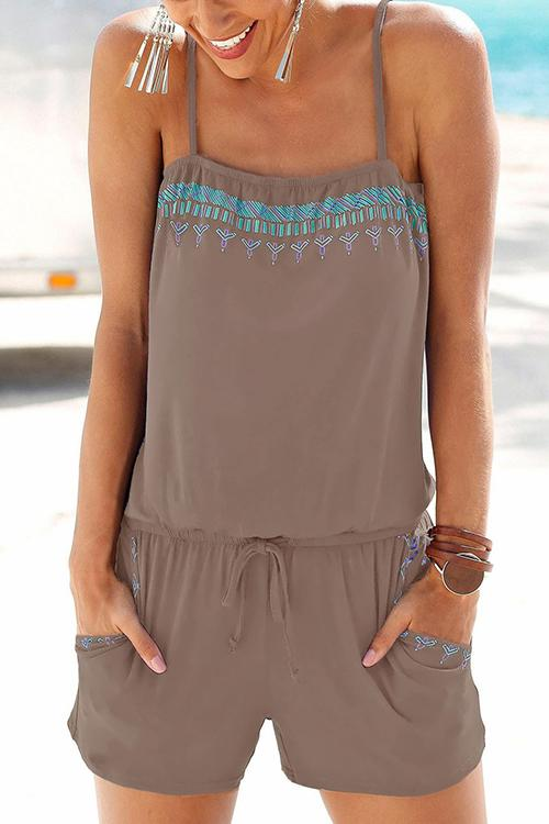 Allovely Printed Pocket Sling Romper