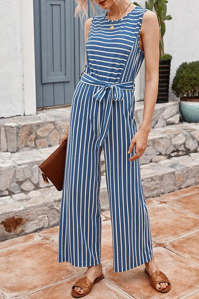 Allovely Striped Sleeveless Lace-Up Jumpsuit