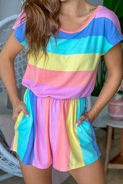 Allovely Pastel Multi Colored Romper