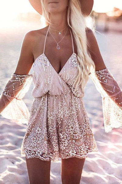 Allovely V-Neck Backless Bandage Sequined Romper