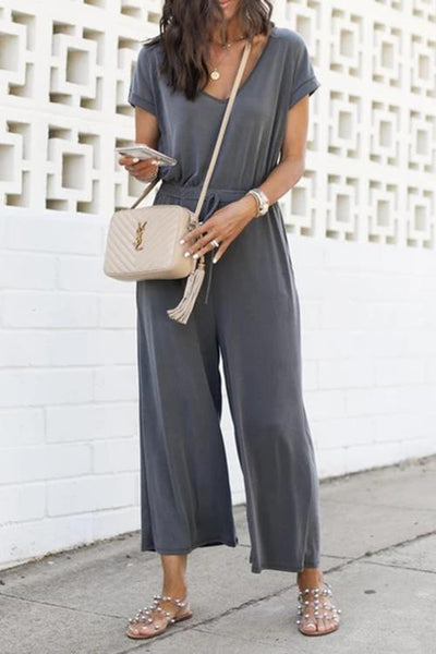 Allovely V-Neck Elastic Waist Jumpsuit