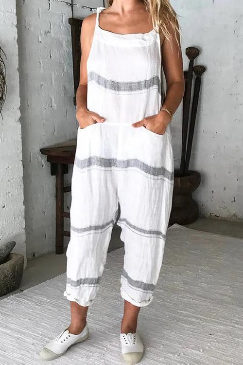 Allovely Striped Casual Pocket Jumpsuit