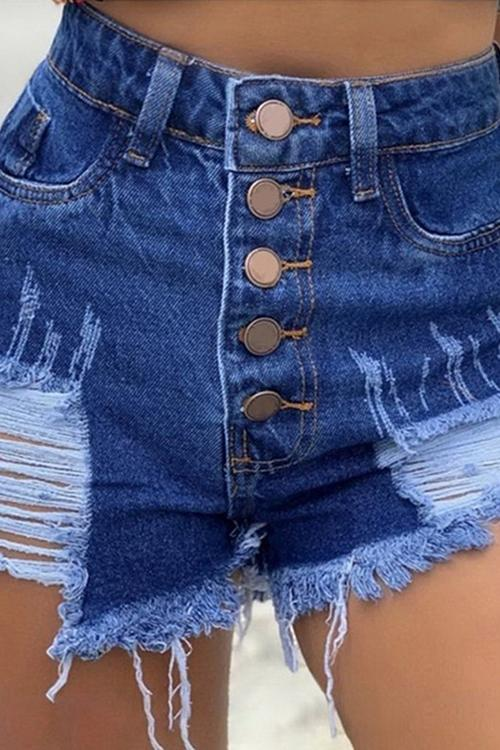 Allovely Buttoned Tassel Ripped High-Rise Denim Shorts