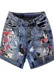 Allovely Color Splash Ink Denim Shorts