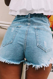 Allovely Ripped Solid Denim Shorts