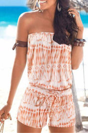 Allovely Tie-Dye Strapless Pocket Romper
