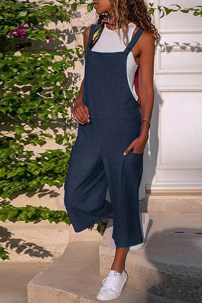 Allovely Solid Color Linen Pocket Jumpsuit