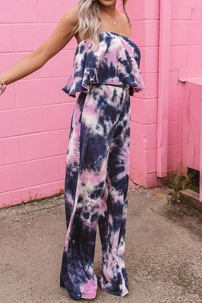 Allovely Bandeau Ruffled Tie-Dye Jumpsuit