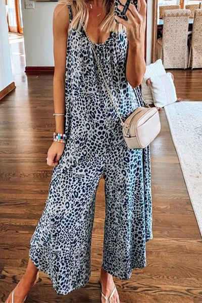 Allovely Leopard Flare Jumpsuit