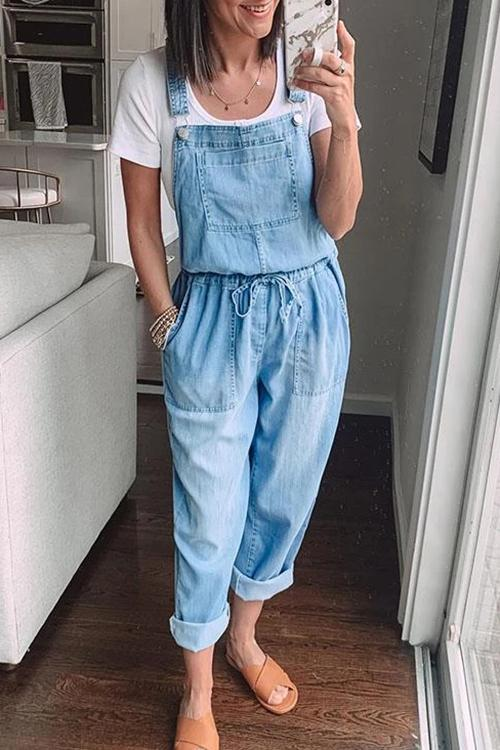 Allovely Loose Fashion Elastic Mid-Rise Denim Jumpsuit