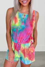 Allovely Rainbow Tie Dye Romper with Pockets