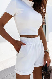 Allovely Solid Color Leisure Sports Two Piece Set