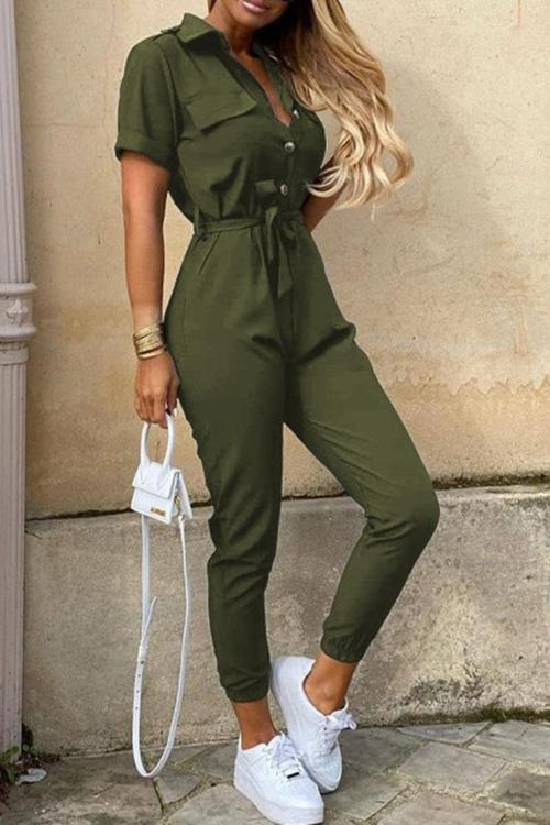 Allovely Casual Button Tie Jumpsuit