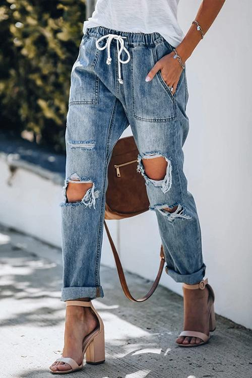 Allovely Ripped Drawstring Vintage Jeans