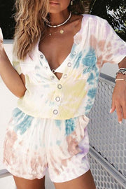 Allovely Tie-Dye Breasted Pocket Romper