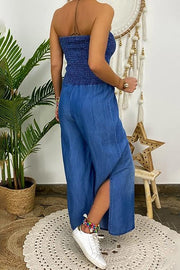 Allovely Bandeau Pleated Split Denim Jumpsuit