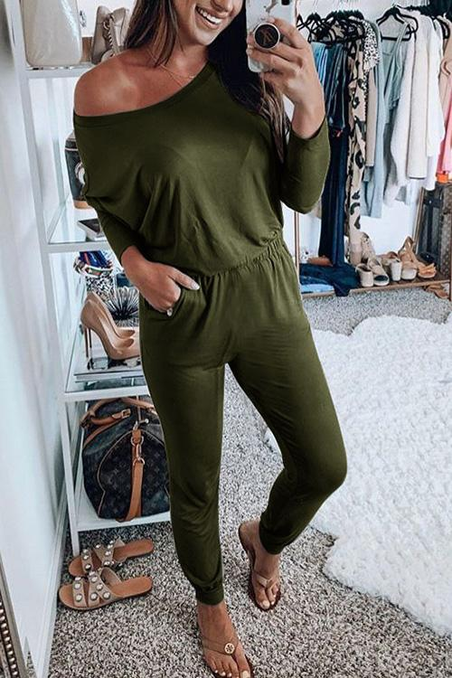 Allovely Cross Body Long Sleeve Jumpsuit