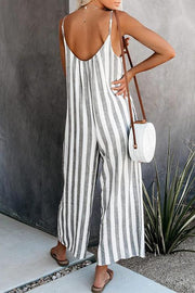 Allovely Striped V-Neck Sleeveless Jumpsuit