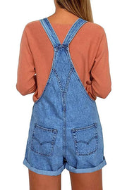 Allovely Adjustable Shoulder Strap Denim Overalls Shorts
