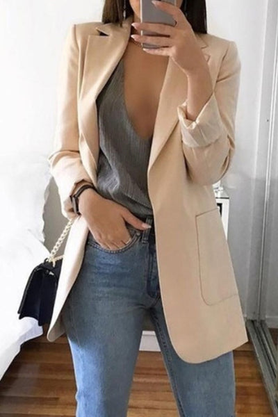 Allovely Solid Color Lapel Pocket Blazer