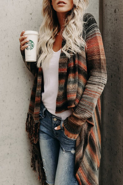 Allovely Fringed Striped Shawl Cardigan