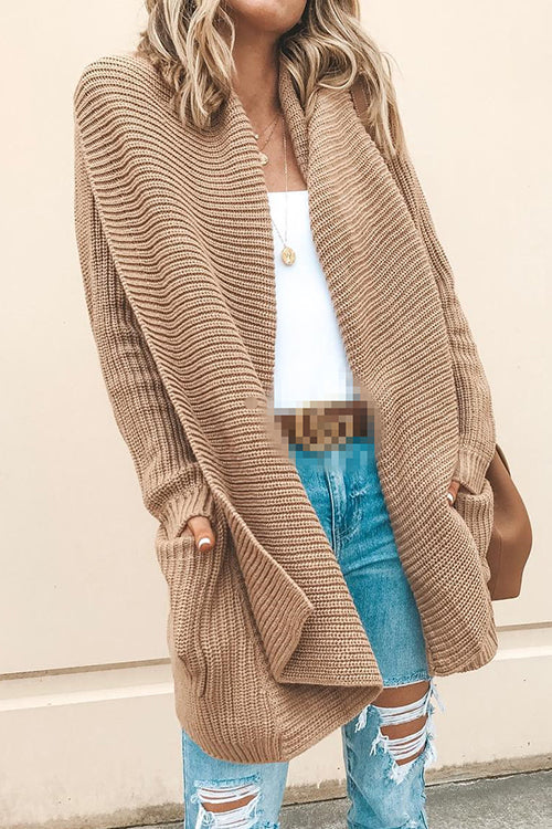 Allovely Lapel Pocket Cardigan