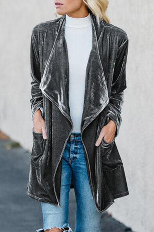 Allovely Long Sleeve Velvet Casual Plain Coat