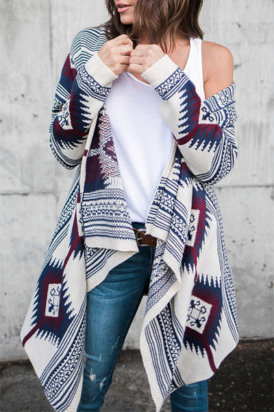 Allovely Irregular Long Sleeve Printed Knit Cardigan