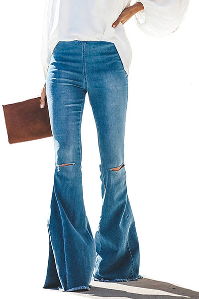Allovely High Waisted Hole Flared Jeans