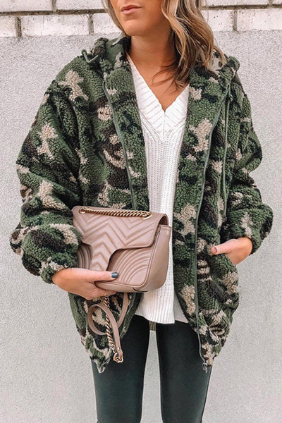 Allovely Camouflage Hooded Lamb Coat