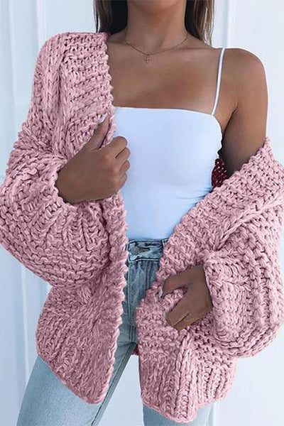 Allovely Solid Color Sweater Cardigan