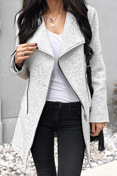 Allovely Zipper Irregular Woolen Coat
