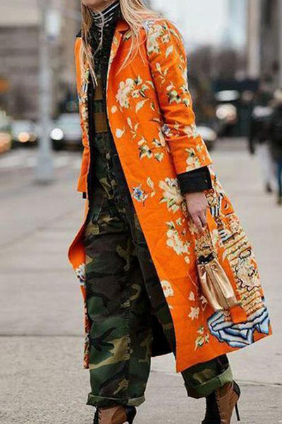 Allovely Printed Long Windbreaker Coat