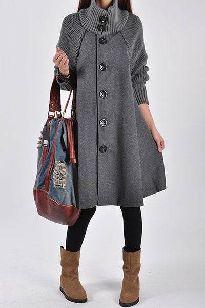 Allovely High Collar Loose Cloak Coat