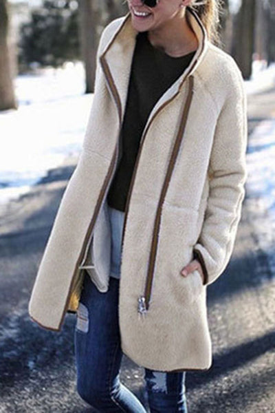 Allovely Plush Stand Collar Zip Button Coat