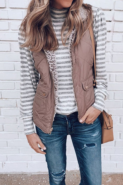 Allovely Zippered Two-Sided Pocket Vest