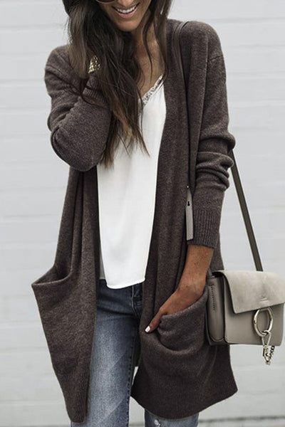 Allovely Brown Pocket Knit Cardigan