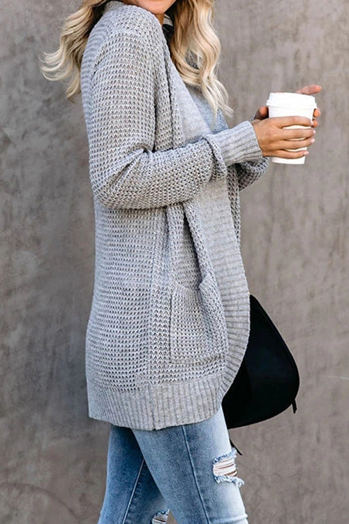 Allovely Grey Knit Sweater Coat