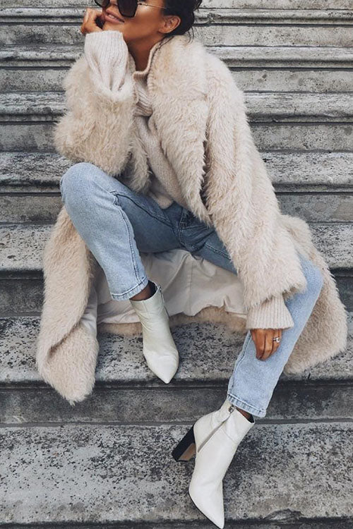 Allovely Casual Fashion Solid Color Long Coat