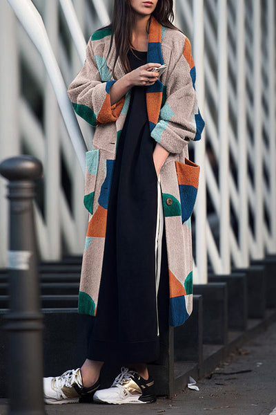 Allovely Color Stitching Lapel Long Coat