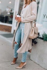 Allovely Solid Color Lapel Long Trench Coat