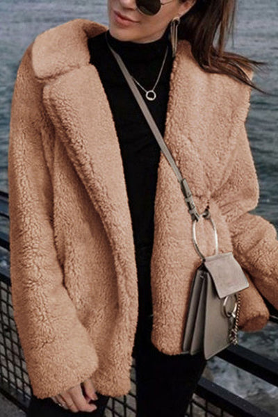 Allovely Solid Color Lapel Plush Coat
