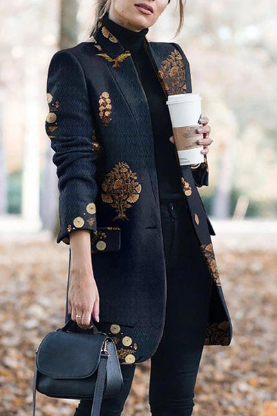 Allovely Mandarin Collar Print Coat
