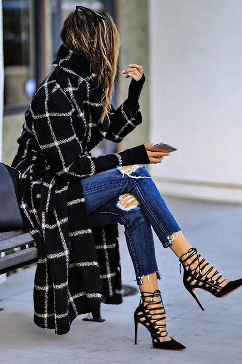 Allovely Plaid Brushed Long Coat